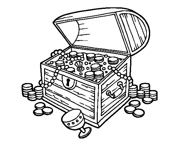 Treasure chest coloring page for Treasure chest coloring pages printable