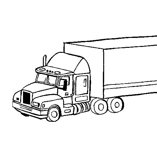 Truck trailer coloring page