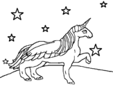 Unicorn looking at the stars coloring page