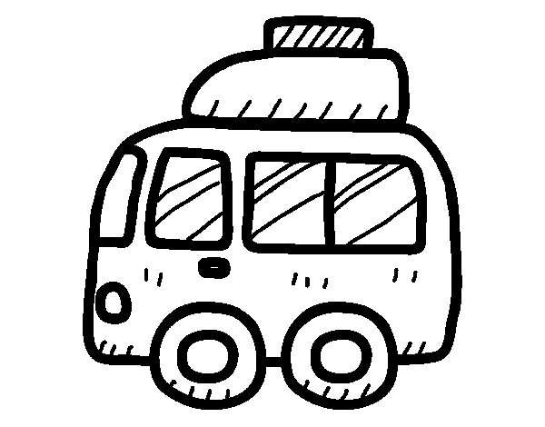 Van with luggage coloring page