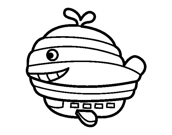 Whale blimp coloring page