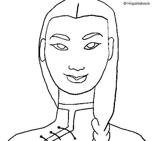 Young Chinese woman coloring page