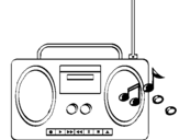 Coloring page Radio cassette 2 painted bysonia