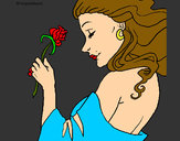 Coloring page Princess with a rose painted bySamantha98