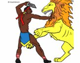 Gladiator versus a lion