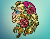 Coloring page Catrina tattoo painted bysuzie