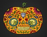 Coloring page Day of the dead Pumpkin  painted bysuzie
