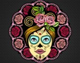 Coloring page Mexican skull female painted bysuzie