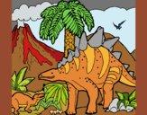Coloring page Family of Tuojiangosaurus painted bysuzie