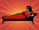 Coloring page Cleopatra lying down painted byCharlotte