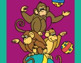 Coloring page Juggling monkeys painted byKArenLee