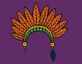 Coloring page Indian feather crown head painted byCharlotte