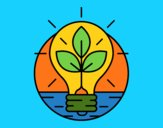 Coloring page  Bulb with leaves painted bymindella