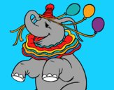 Coloring page Elephant with 3 balloons painted bymindella
