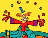Coloring page Juggler clown painted bymindella