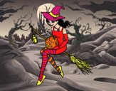 Coloring page Halloween Witch painted byGramanana4