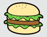 Coloring page Hamburger with lettuce painted byAnia
