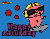 Coloring page Happy saturday painted byLexi882