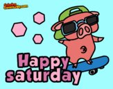 Coloring page Happy saturday painted bywequix