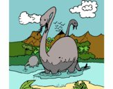Apatosaurus in water