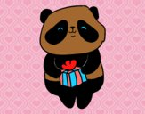 Coloring page Panda with present painted byAlexi