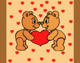 Coloring page Bears in love painted byAnia