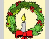 Coloring page Christmas wreath and candle painted byAnia