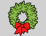 Coloring page Christmas wreath painted byAnia