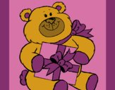 Coloring page Bear with present painted byCherokeeGl