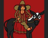 Coloring page Indian on a donkey painted byCherokeeGl