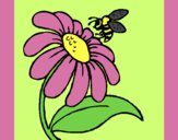 Coloring page Daisy with bee painted byAnia