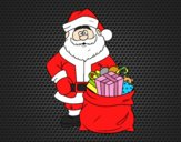 Coloring page  Santa Claus with a bag of gifts painted byAnia