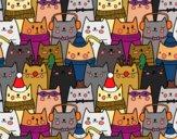 Coloring page Christmas cats painted byYori