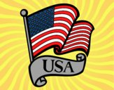 Coloring page U.S. Flag painted bysamg