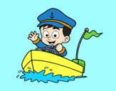 Coloring page Boat and captain painted byAnia