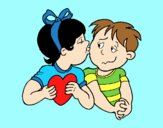 Coloring page Little kiss painted byAnia