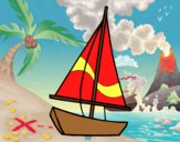 Coloring page A sailing boat painted byAnia