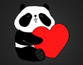 Coloring page Panda Love painted bylorna