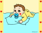 Coloring page Baby playing painted bylorna