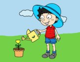 Coloring page Boy watering painted bylorna