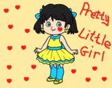 Coloring page Little girl with modern dress painted bylorna