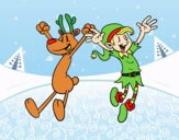 Reindeer and Elf jumping