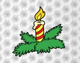 Coloring page Xmas candle painted bylorna