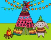 Coloring page Indian rabbit painted byPiaaa
