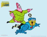 Coloring page SpongeBob - Superawesomeness and Invincibubble painted byPiaaa
