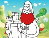 Coloring page Santa Claus with presents painted byNIKOS