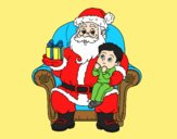 Coloring page Santa Claus and child at Christmas painted bylorna