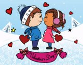Coloring page Kids valentine painted bySkye