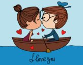 Coloring page Kiss on a boat painted bySkye