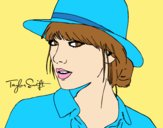 Coloring page Taylor Swift with hat painted byLornaAnia